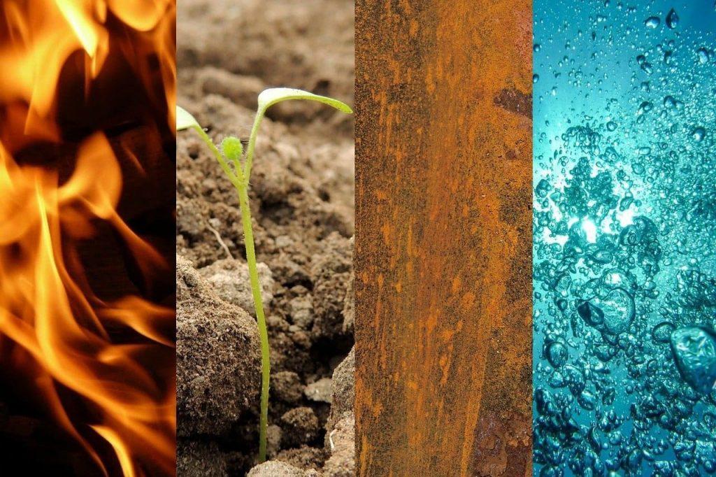 Die 4 Elemente Luft, Wasser, Feuer, Erde